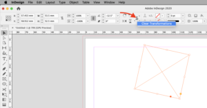 Clear Transformations Adobe InDesign