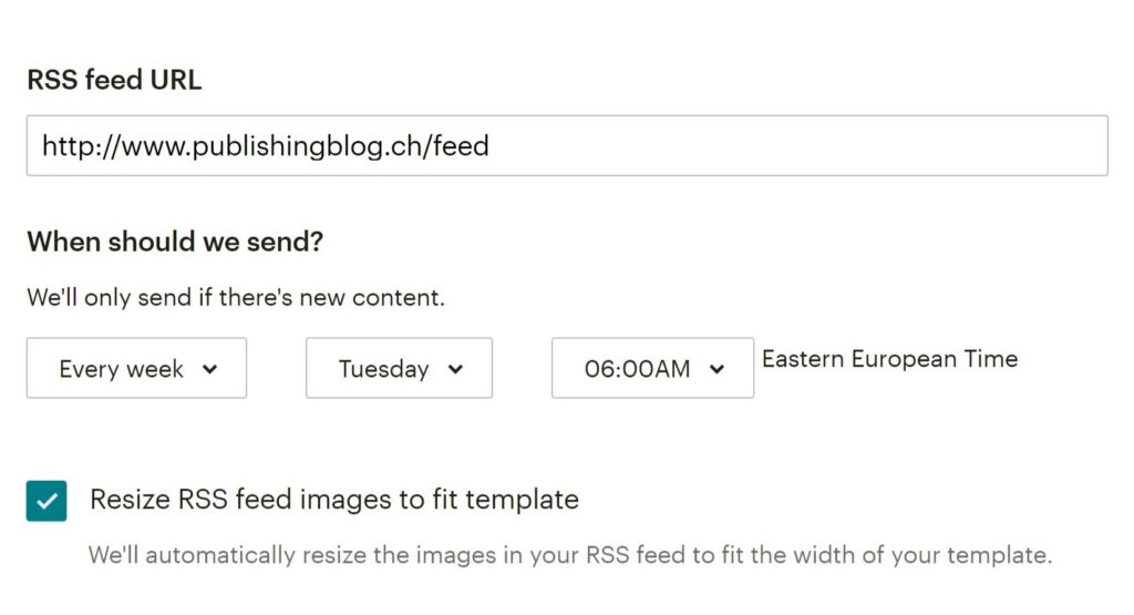 Screenshot aus MailChimp mit der Option «Resize RSS feed images to fit template»