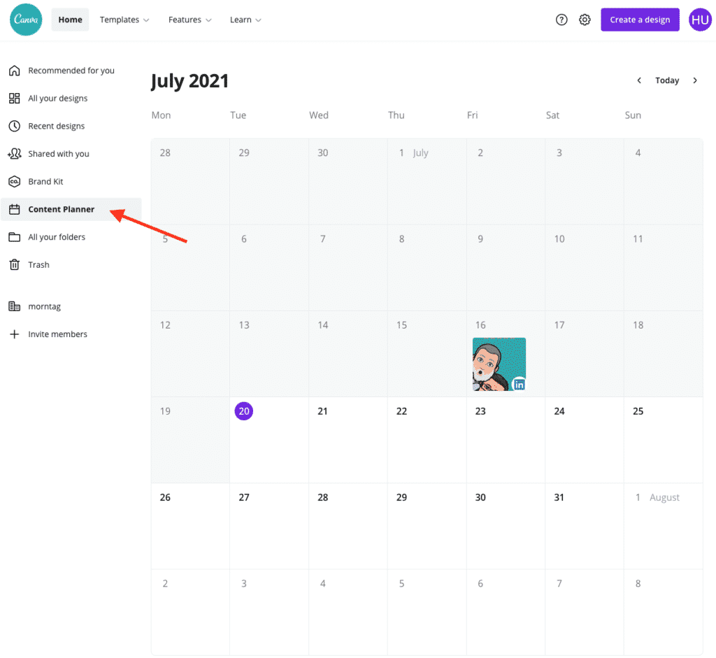 Post Scheduling Canva