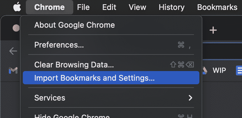 Import Bookmarks and Settings, Google Chrome